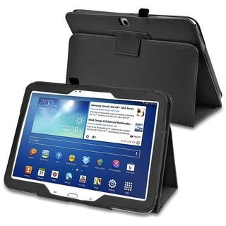 INSTEN Black Leather Tablet Case Cover with Stand for Samsung Galaxy Tab 3 10.1