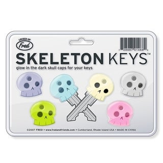 Fred & Friends Colorful Glow-in-the-dark Skeleton Keycap 6-cap Set