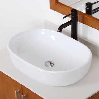 Elite 4916F371023ORB High-temperature Grade-A Oval Ceramic Bathroom Sink and Oil-rubbed Bronze Finish Faucet Combo