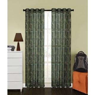 Camo Print Sheer 84-inch Grommet Curtain Panel