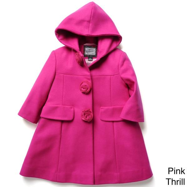 Rothschild Girl's Rosette A-line Dress Coat