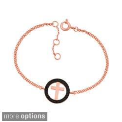 Sterling Silver Black Cubic Zirconia Cross Bracelet