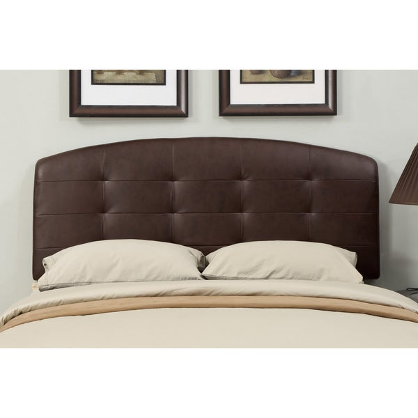 brown leather full queen size tufted headboard free shipping today 15668716. Black Bedroom Furniture Sets. Home Design Ideas