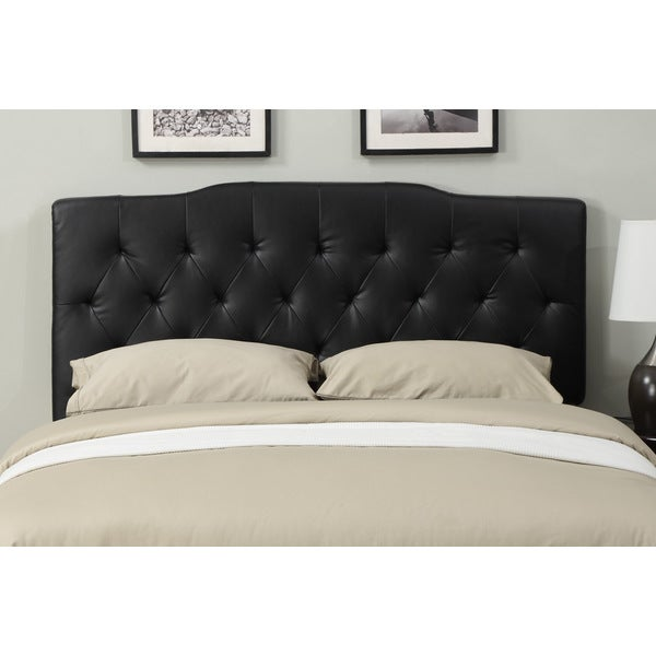 Shop Black Leather Full Queen Size Tufted Headboard