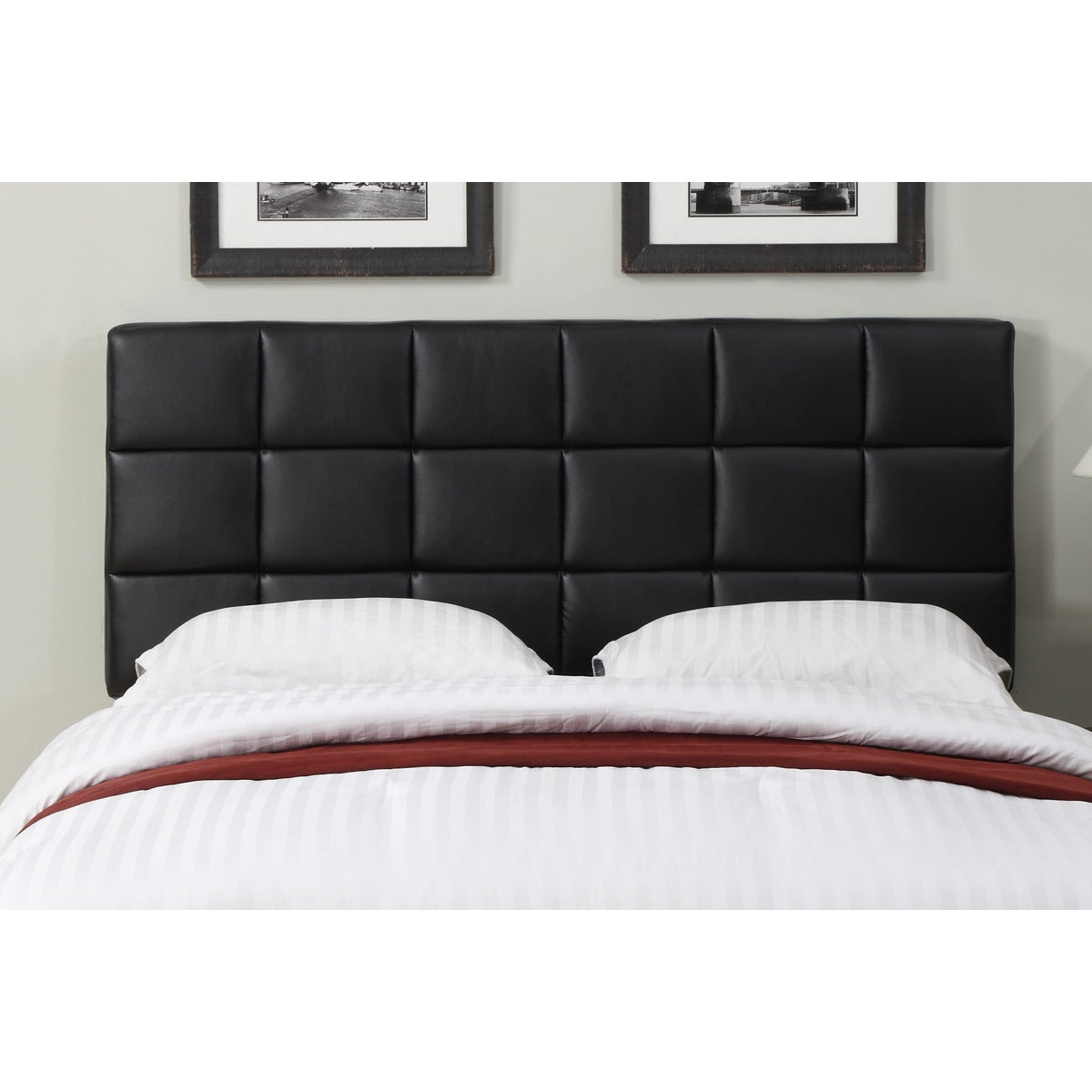 Black Leather Full Queen Size Square Tufted Headboard Overstock 8361303
