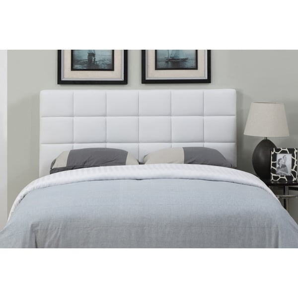 Shop White Leather Full Queen Size Square Tufted