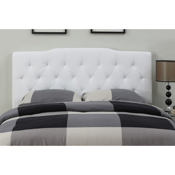cream leather full queen size tufted headboard free shipping today 15668720. Black Bedroom Furniture Sets. Home Design Ideas