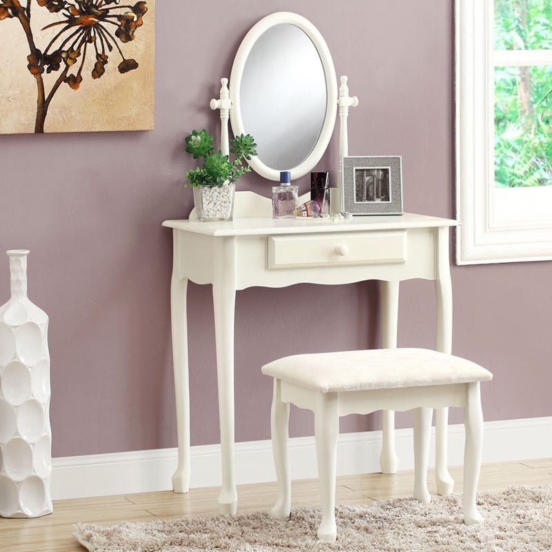Monarch Antique White Vanity Set with Stool (Antique Whit...