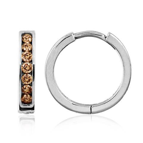 Sterling Silver 1/4ct TDW Champagne Diamond Hoop Earrings