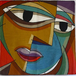 Hand-Embroidered Face Tapestry , Handmade in India - N/A