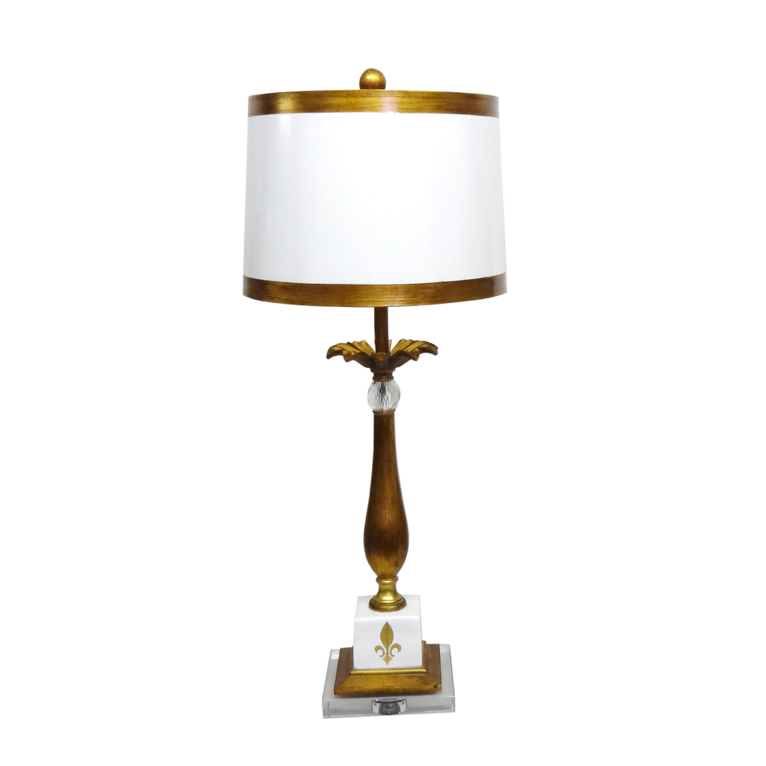 White fleur de lis 1 light gold table lamp ebay white fleur de lis 1 light gold table lamp aloadofball Choice Image