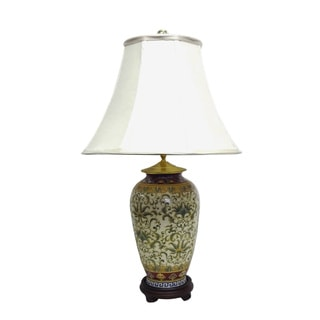 Empress Pattern Round Jar 1-light Gold Table Lamp