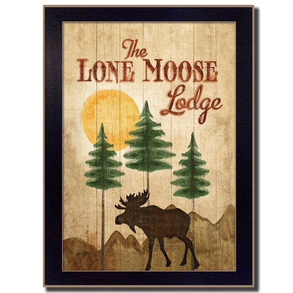 """Lone Moose"" By Mollie B., Printed Wall Art, Ready To Hang Framed Poster, Black Frame"