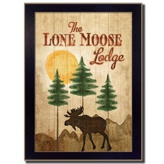 """""""Lone Moose"""" By Mollie B., Printed Wall Art, Ready To Hang Framed Poster, Black Frame"""