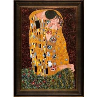 Gustav Klimt 'The Kiss' Hand Painted Framed Canvas Art