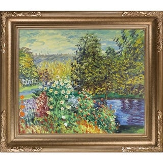 Monet Corner of the Garden at Montgeron Hand Painted Framed Canvas Art