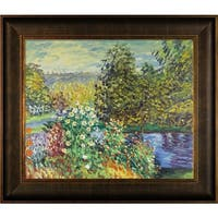 Claude Monet 'Corner of the Garden at Montgeron' Hand Painted Framed Canvas Art
