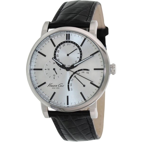 Kenneth Cole Men's Slim Black Leather Quartz Watch
