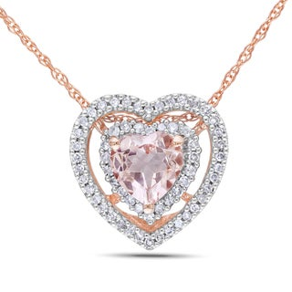 Miadora 10k Rose Gold Morganite 1/5ct TDW Diamond Heart Necklace (G-H, I1-I2)