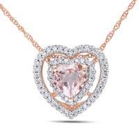 Miadora 10k Rose Gold Morganite 1/5ct TDW Diamond Heart Necklace (G-H, I1-I2)
