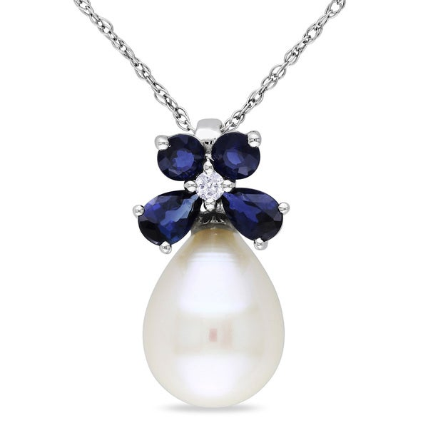 Miadora 10k White Gold Cultured Freshwater Pearl, Sapphire and Diamond Necklace (8.5-9 mm)