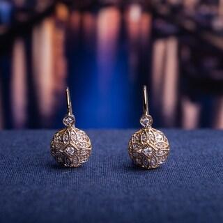 Miadora 14k Yellow Gold 1/8ct TDW Diamond Vintage Cluster Leverback Earrings