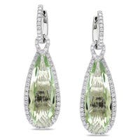Miadora Signature Collection 14k White Gold Green Amethyst 1ct TDW Diamond Earrings (G-H, SI1-SI2)