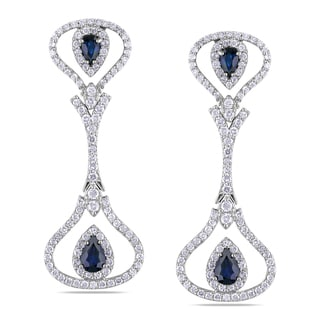 Miadora Signature Collection 14k White Gold 2ct TDW Diamond and Sapphire Earrings (G-H, SI1-SI2)