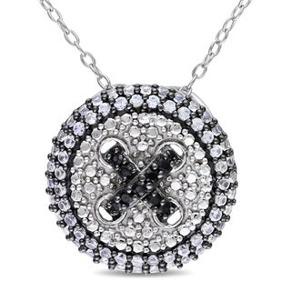 Miadora Sterling Silver Created White Sapphire and Black Spinel Halo Necklace