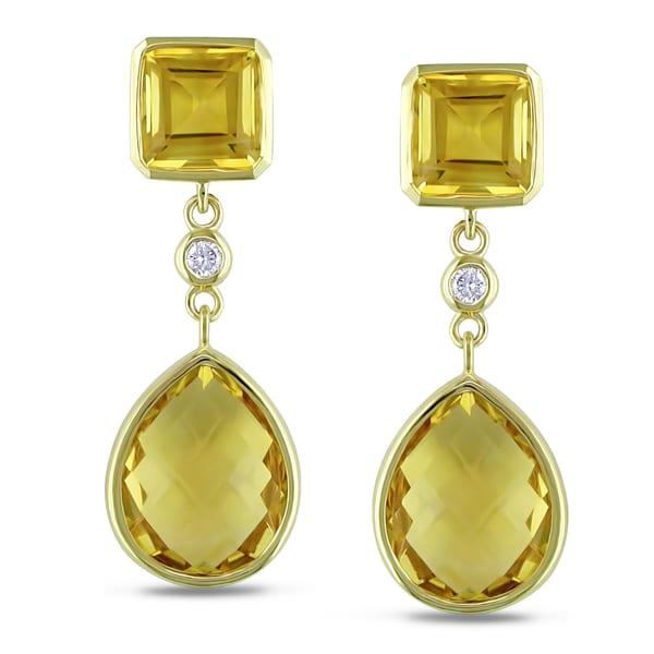 Miadora 14k Yellow Gold Citrine and 1/10 TDW Diamond Dangle Earrings (G-H, SI1-SI2)