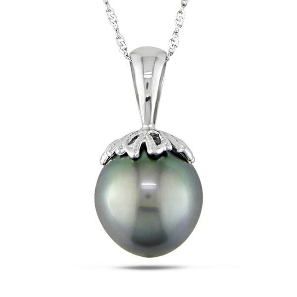 Miadora 14k White Gold Tahitian Black Pearl Necklace (10-10.5 mm)