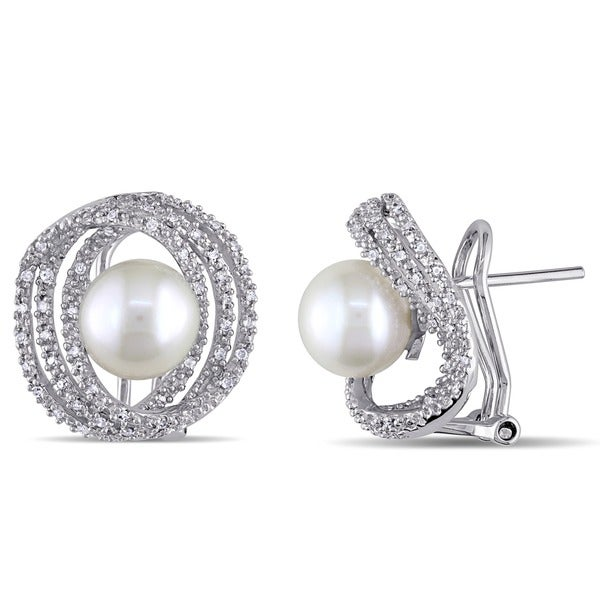 Miadora Sterling Silver Cultured Pearl and 1/4ct TDW Diamond Earrings (H-I, I2-I3) (8-8.5 mm)
