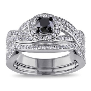 Miadora Sterling Silver 1ct TDW Black and White Diamond Bridal Ring Set