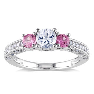Miadora 10k White Gold Created White and Pink Sapphire 1/6ct TDW Diamond Ring (H-I, I2-I3)
