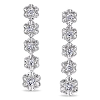 Miadora Signature Collection 14k White Gold 7/8ct TDW Diamond Dangle Earrings (G-H, SI1-SI2)