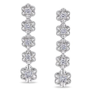 Miadora Signature Collection 14k White Gold 7/8ct TDW Diamond Dangle Earrings