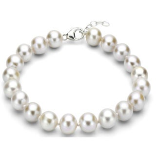 DaVonna Sterling Silver 11-12 mm White Freshwater Pearl Bracelet with 1-inch Extender