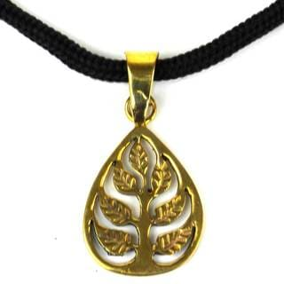 Handcrafted Tree of Life Bomb Casing Pendant on Cord (Cambodia)