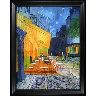 Vincent Van Gogh 'Cafe Terrace at Night' Hand Painted Framed Canvas Art