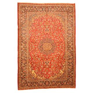 Herat Oriental Persian Hand-knotted Isfahan Red/ Navy Wool Rug (9'5 x 14')