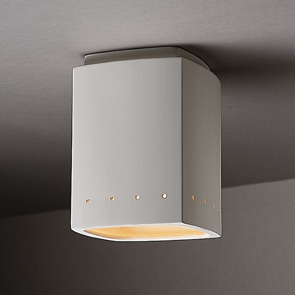 Perferated Rectangle Ceramic Outdoor 1-light Flush Mount