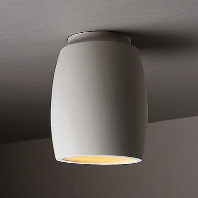 Curved Ceramic Outdoor 1-light Flush Mount - White