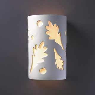 Small Oak Leaves Multi Directional Outdoor Ceramic 1 Light Sconce