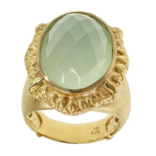 Michael Valitutti Gold over Silver Sea Green Chalcedony Ring