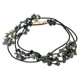 Michael Valitutti Gold over Silver Pearl, Black Agate, Lemon Quartz, Labradorite and Smokey Quartz Necklace