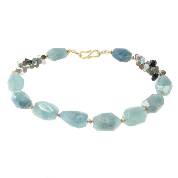 Blue Topaz And Pearl Necklace: Shop Michael Valitutti Gold Over Silver Aquamarine, Smokey