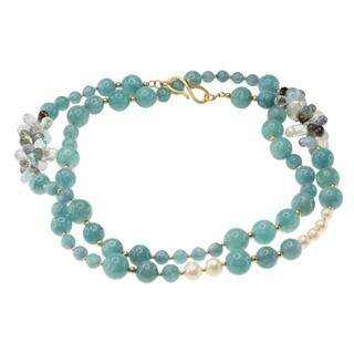 Michael Valitutti Gold over Silver Aquamarine, Pearl, Smokey Quartz, Iolite, Labradorite and Blue Topaz Necklace