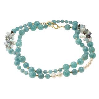Michael Valitutti Gold over Silver Aquamarine, Pearl, Smokey Quartz, Iolite, Labradorite and Blue Topaz Necklace