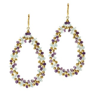 Michael Valitutti/ Kristen Gold over Silver Amethyst, Blue Topaz and Pyrite Earrings