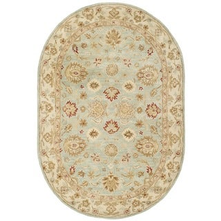 Safavieh Handmade Antiquity Grey Blue/ Beige Wool Rug (4'6 x 6'6 Oval)